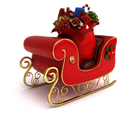 christmas sleigh: 3D Illustration of a Christmas Sleigh Loaded with Gifts