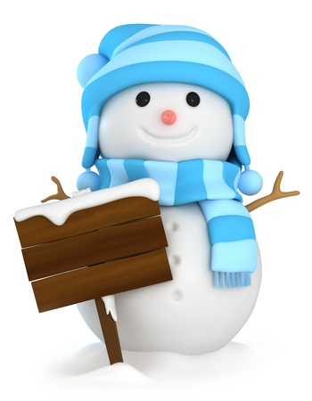 snowman 3d: 3D Illustration of a Snowman Holding a Blank Board Stock Photo