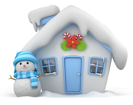 snowman 3d: 3D Illustration of a House with a Christmas Theme Stock Photo