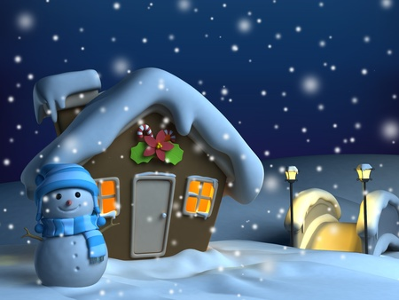 3d bungalow: 3D Illustration of a House with a Christmas Theme Stock Photo