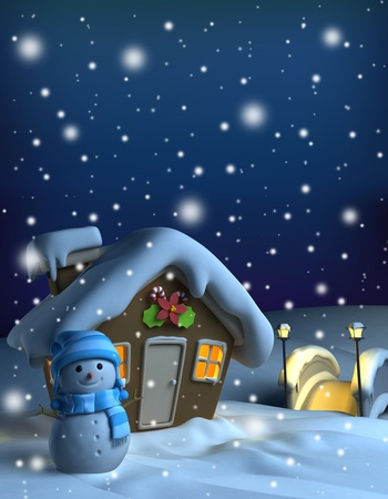 snow flowers: 3D Illustration of a House with a Christmas Theme Stock Photo