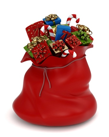 loot: 3D Illustration of a Bag Full of Gifts Stock Photo