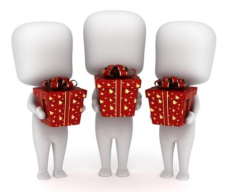 3D Illustration of Kids Holding Christmas Gifts illustration