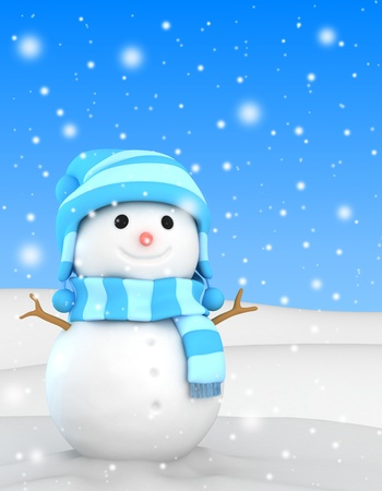 3D Illustration of a Happy Snowman illustration
