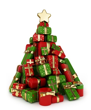 3D Illustration of a Pile of Gifts Shaped Like a Christmas Tree illustration