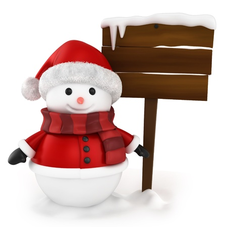 bonhomme de neige: Illustration 3D de bonhomme de neige debout � c�t� d'un conseil