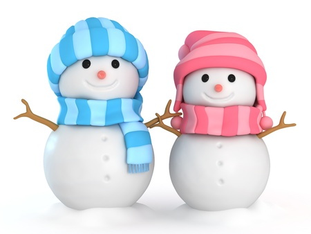 snowman 3d: 3D Illustration of Happy Male and Female Snowmen