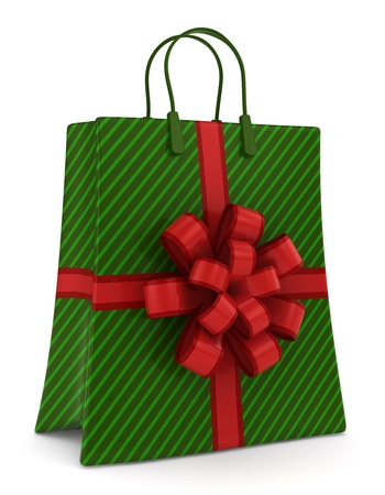 christmas motif: 3D Illustration of a Shopping Bag with a Christmas Motif