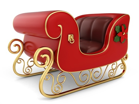 3D Illustration of a Christmas Sleigh Stock Photo