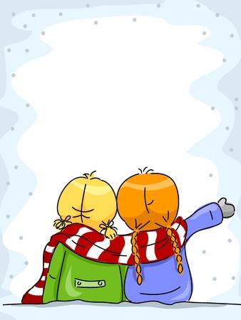 mejores amigas: Ilustración de las niñas disfrutar de la nieve, junto