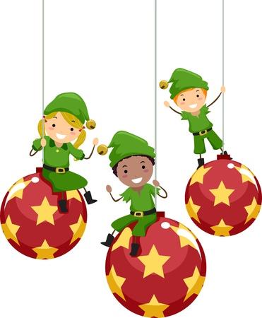 elfos navideÑos: Ilustración de niños vestidos como duendes de Navidad Foto de archivo