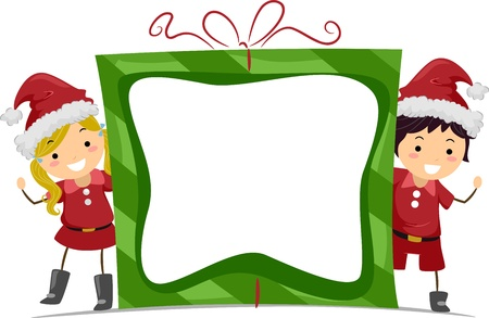 child clipart: Frame Illustration Featuring Kids Dressed as Santa Stock Photo