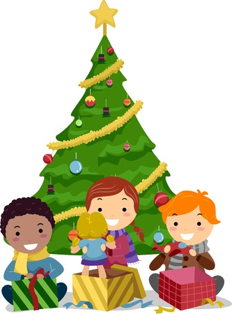 Illustration Of Kids Opening Gifts Stock Photo, Picture And Royalty ...