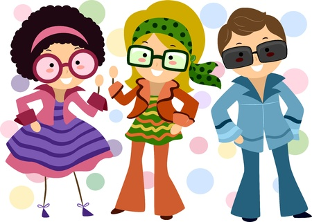cartoon party: Illustration of Kids Dressed in Retro Costumes