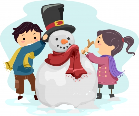 Illustration of Kids Making a Snowman  illustration