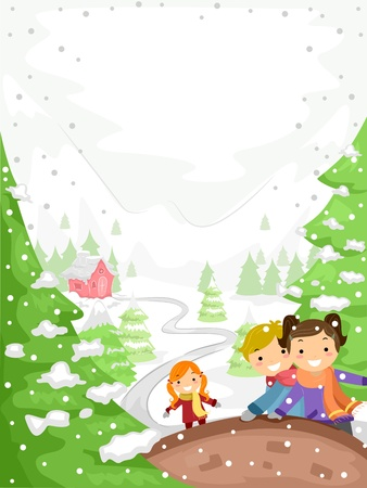 snow climbing: Illustration of Kids Climbing a Snowy Mountain