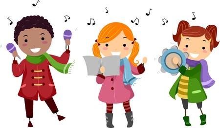 christmas carols: Illustration of Kids Singing Christmas Carols