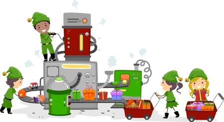 elfos navideÑos: Ilustración de niños trabajando en una fábrica de regalos