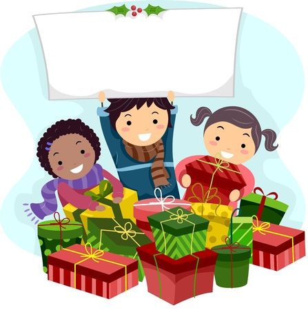 Illustration of Kids Opening Christmas Gifts illustration