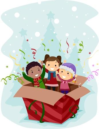 springing: Illustration of Kids Springing Out of a Box