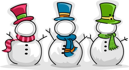 customizable: Illustration of Snowman with Customizable Faces