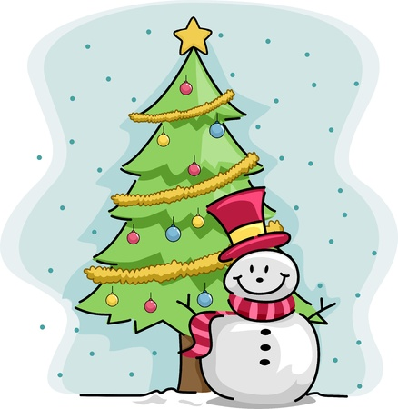 yule: Illustration of a Snowman Standing Beside a Christmas Tree