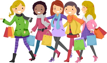 shopping buddies: Illustration of Teenagers Out Shopping