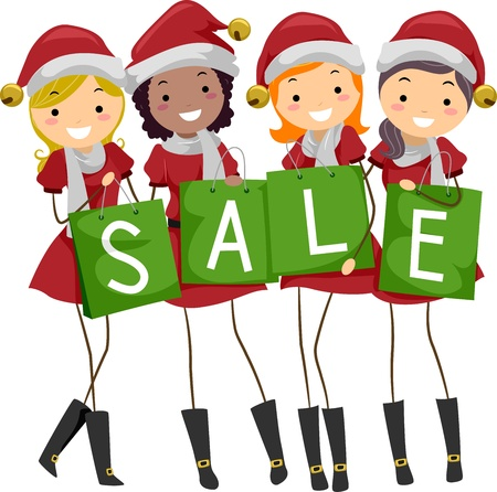 christmas promotion: Illustration of Teens Holding Shopping Bags Marked with Sale