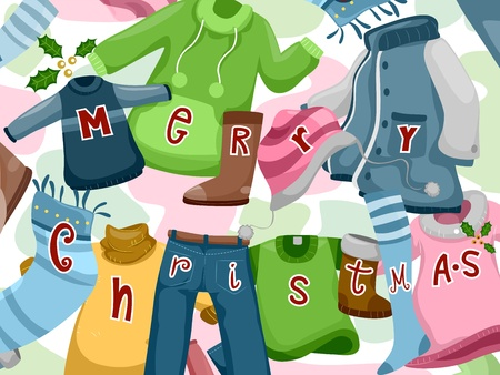 sewn: Illustration of Clothes and Accesories with Christmas Greetings Sewn on Them Stock Photo