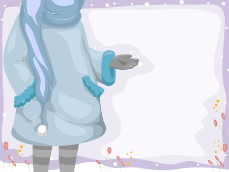 Background Illustration Featuring a Girl Enjoying the Snow illustration