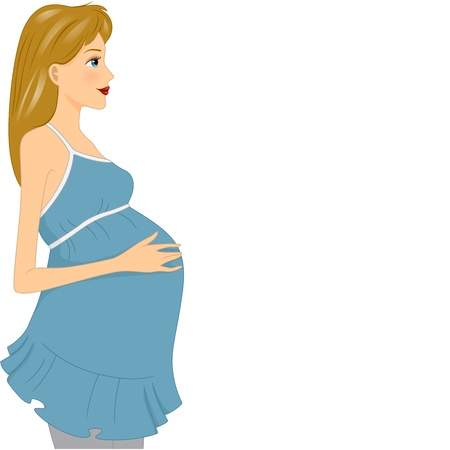pregnant girl: Illustration of a Pregnant Girl Touching Her Belly