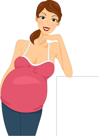 bebe a bordo: Ilustraci�n de una embarazada Muchacha que se inclina en un pedazo de tabla Foto de archivo