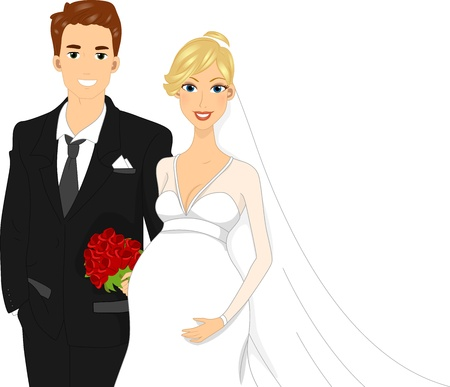 Illustration of a Pregant Bride Standing Beside Her Groom illustration