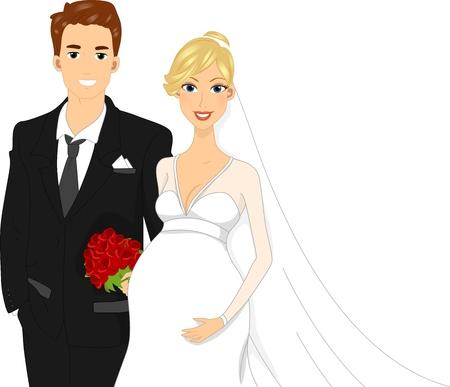 mother to be: Illustrazione di una sposa Pregant accanto a lei Groom