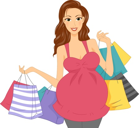 haul: Illustration of a Pregnant Girl Carrying Shopping Bags Stock Photo