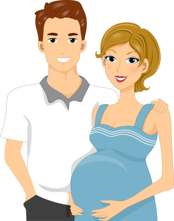 Illustration of Expecting Parents Standing Side by Side illustration