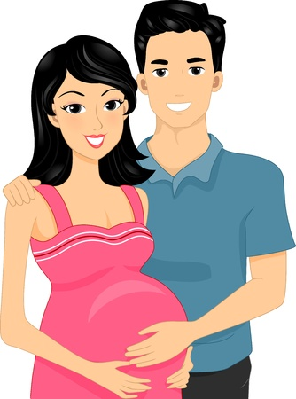 husband and wife: Illustration of Expecting Parents Standing Side by Side Stock Photo