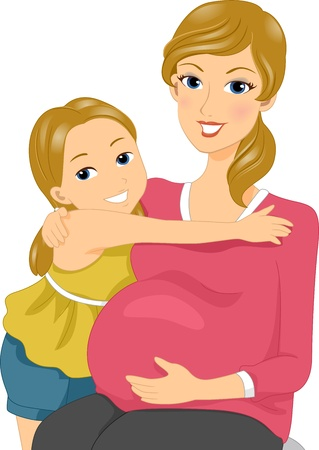 mums: Illustration of a Mother and Daughter Cuddlng