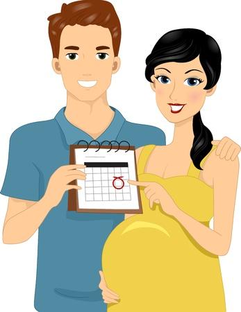 mother to be: Illustrazione dei genitori Expecting Indicando Calendar