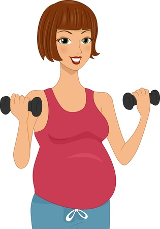 pregnancy exercise: Illustration of a Pregnant Woman Working Out Stock Photo