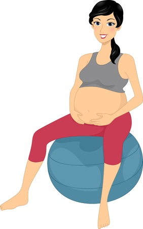 pregnancy exercise: Illustration of a Woman Sitting on an Exercise Ball Stock Photo