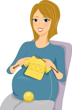 Illustration of a Pregnant Woman Knitting illustration