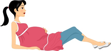 woman lying down: Illustration of a Woman Doing a Pregnancy Exercise