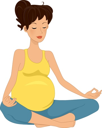 cartoon yoga: Illustration of a Pregnant Woman Meditating