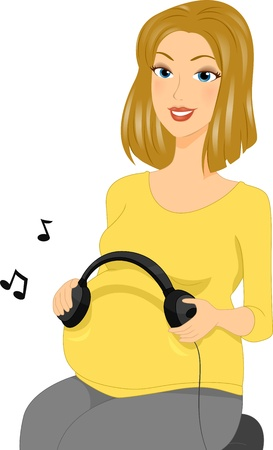 Illustration of a Pregnant Woman Holding a Pair of Headphones illustration
