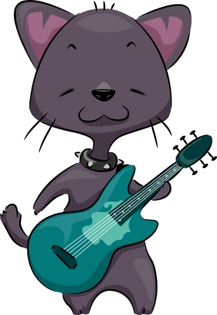 Illustration of a Cat Playing the Guitar Stock Illustration - 11860807