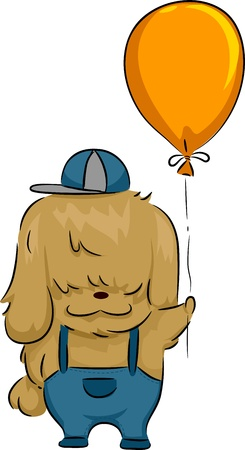 shih tzu: Illustration of a Dog Holding a Balloon
