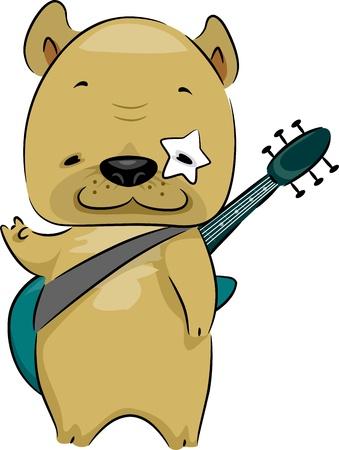 dog rock: Illustration of a Rocker Dog
