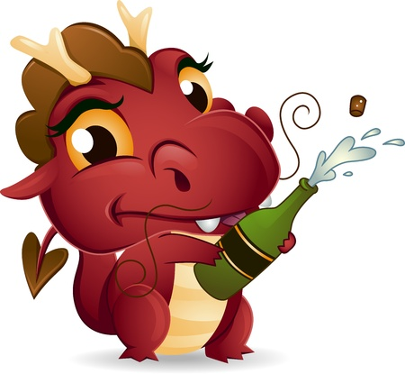 Illustration of a Dragon Popping a Champagne Bottle Open illustration