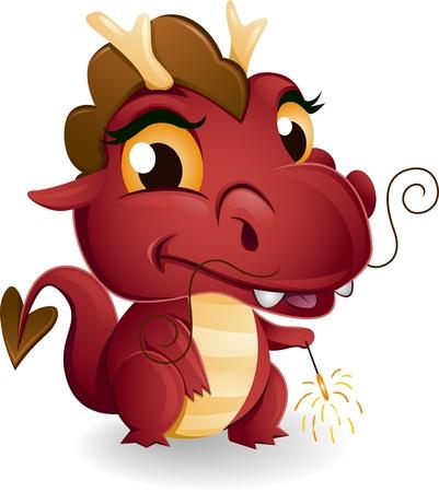 sparkler: Illustration of a Dragon Holding a Sparkler